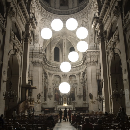 Robert Stadler installation in a Parisian church