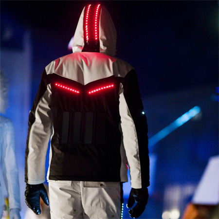 Ski suits with solar-powered lights by Willy Bogner