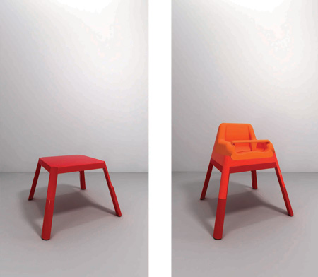 long low hygiene table and evoluntionary chair by studio design