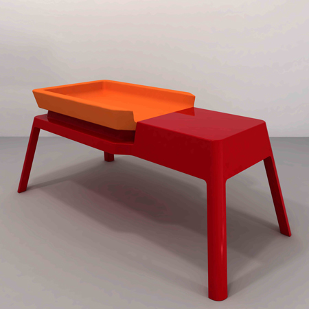 Long Low Hygiene Table and Evoluntionary Chair by Studio Design Rafaschieri