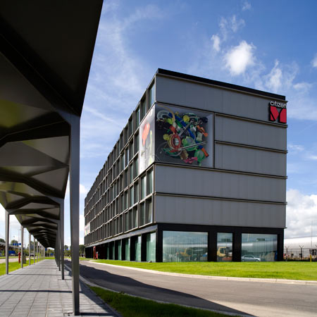 CitizenM is a hotel made of prefabricated room modules at Schiphol Airport, Amsterdam, designed by Dutch architectural firm Concrete.