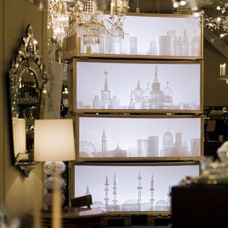 Installation and crystal glasses by Maxim Velčovský for Lobmeyr