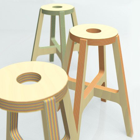 Paper-wood stool by Drill Design