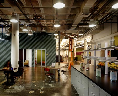 Facebook headquarters by studio o a dezeen for Industrial office interior