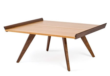 Popular Splay Table features a satin hickory table top and American walnut edges and legs