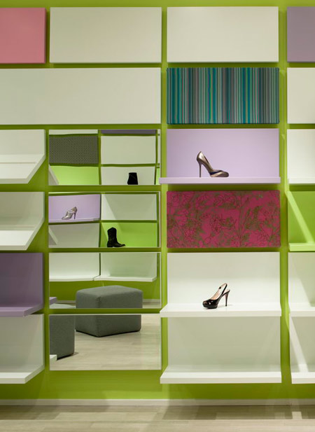 Brooklyn designers sergio mannino studio have completed the interior of a shoe shop in new york where the walls are covered in interchangeable panels