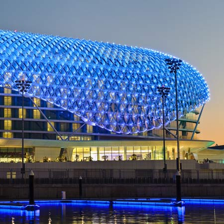 The building is now open to the public following a pre-opening during the Abu Dhabi Formula 1 Grand Prix at the end of October. & The Yas Hotel by Asymptote | Dezeen