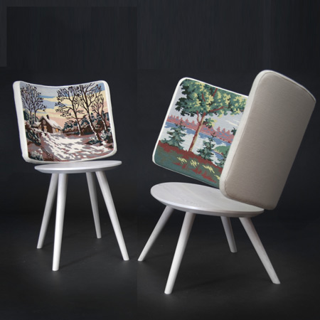 Embroidery Chairs by Johan Lindstén