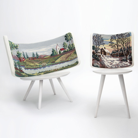 Called Embroidery Chairs the pieces have white wooden seats and turned legs with the embroidery mounted on upholstered backrests. & Embroidery Chairs by Johan Lindstén | Dezeen