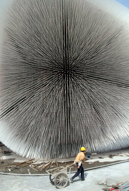 Close-up of the Seed Cathedral at Shanghai Expo 2010