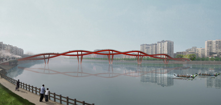 Nanhe River Landscape Bridge by WXY Architecture