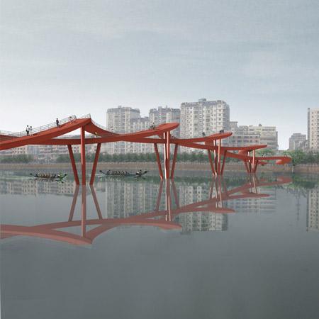 Nanhe River Landscape Bridge by WXY Architecture