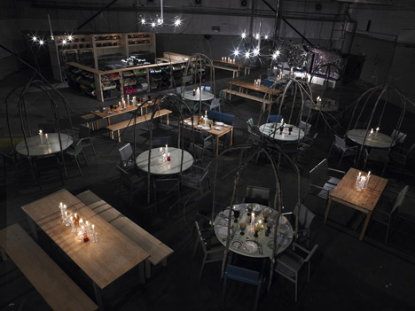 The restaurant called Hel Yes  will be furnished around the edge with camp  beds under fabric canopies  and classic Finnish furniture by Alvar Aalto in  the. Hel Yes  temporary restaurant   Dezeen