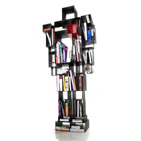 Black metal book shelf in the shape of a robot