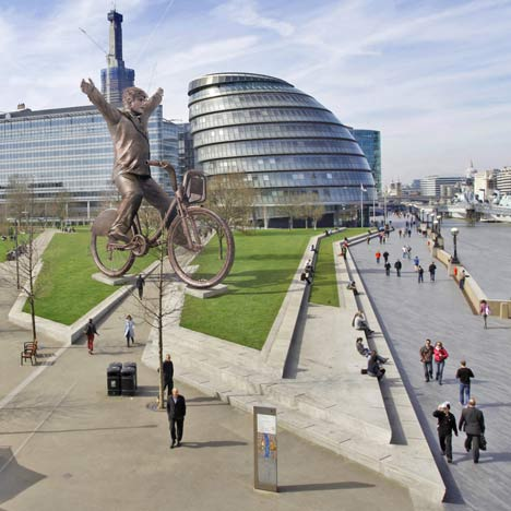 Bronze Boris Bike Statue by Dowling Jones & Stone