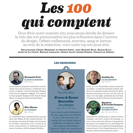 "Dezeen in Architectural Design's ""Les 100 qui comptent"" list"