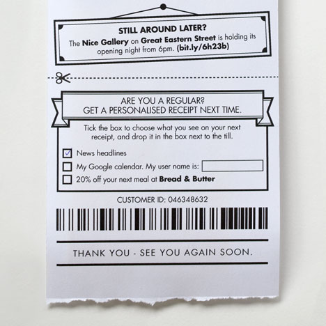 Receipt redesign by BERG