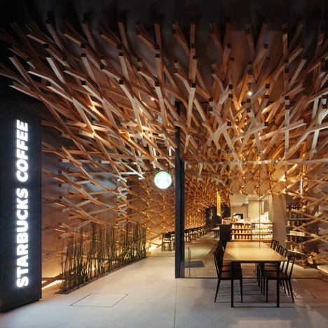 Starbucks coffee at dazaifu tenman g by kengo kuma and for Unique design milano