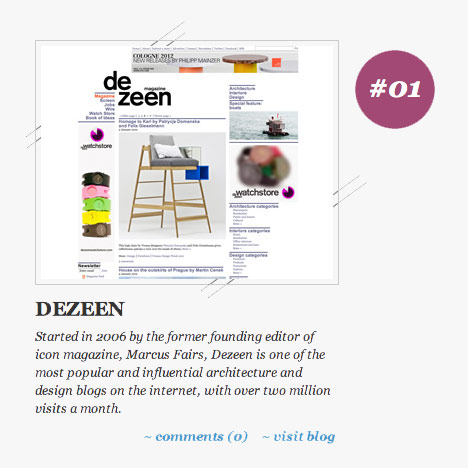 Dezeen named #01 design blog- Best Blogs