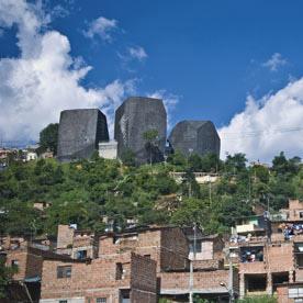 Giancarlo Mazzanti's España library-park towers over Medellín photographed by Diana Moreno