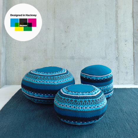 Frank, Henry and Ernes pouffes by Donna Wilson for SCP