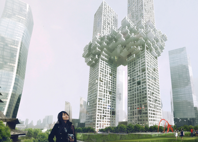 The Cloud by MVRDV, with Dancing Towers by Studio Daniel Libeskind in front