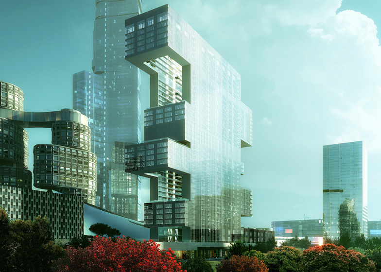 Project R6 by Rex, with towers by Asymptote Architecture and Kohn Pedersen Fox behind
