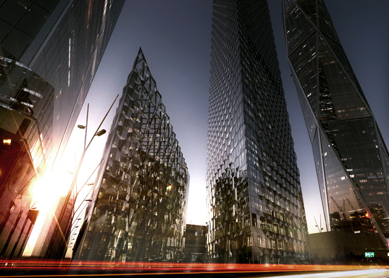 The Blade by Dominique Perrault, with Diagonal Tower by SOM behind