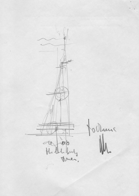 Sketch of The Shard by Renzo Piano