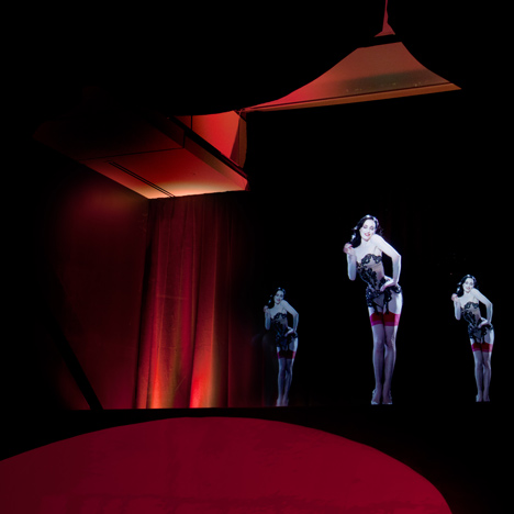 Dita Von Teese hologram by Musion for Christian Louboutin at the Design Museum