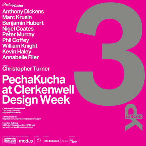 Pecha Kucha at Clerkenwell Design Week on Thursday 24 May