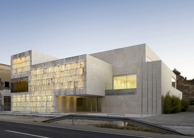 The Bajo Martin County Seat in southern Spain has a facade of alabaster blocks which allow light into the civic hall