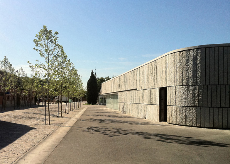 A pond with stepping stones can be found inside this Madrid museum about the history of the Manzanares river