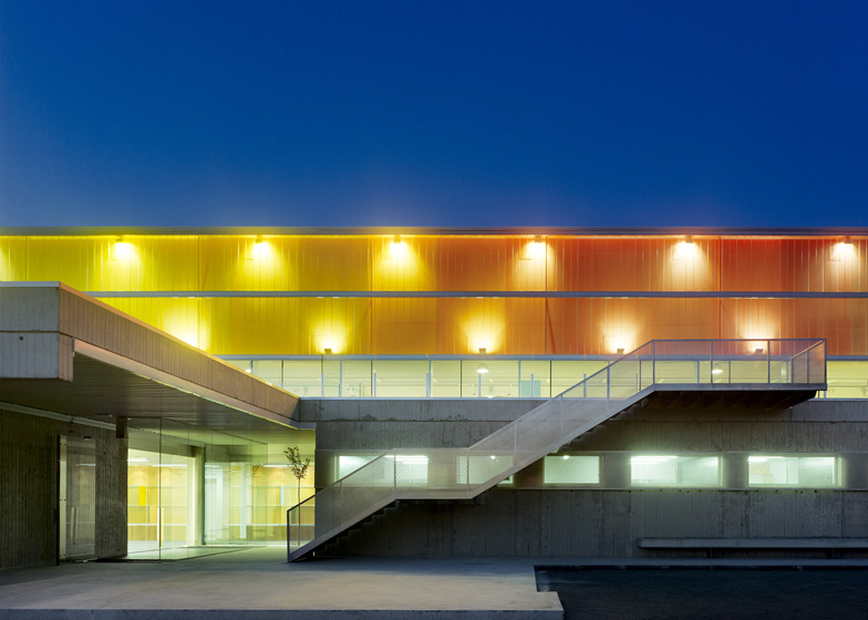 A rainbow of colour wraps around this sports hall in the town of Arteixo in A Coruña