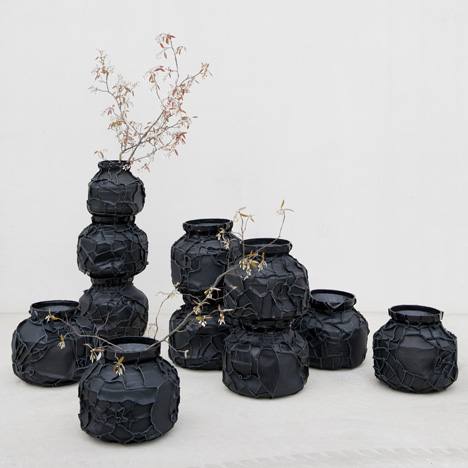 Matka leathery vases by Pepe Heykoop