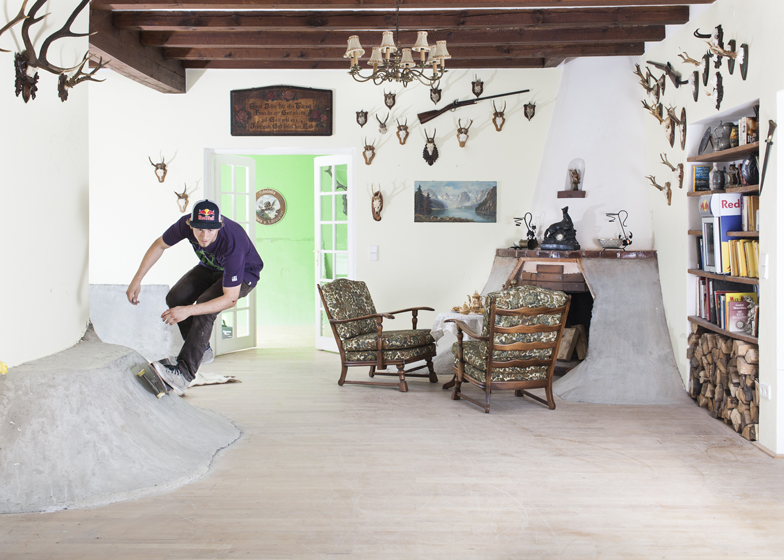 Concrete ramps transform Philipp Schuster's hunting lodge into an indoor skatepark