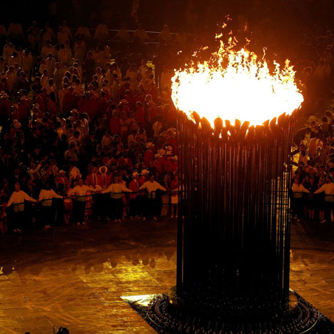 Heatherwick's cauldron during the London 2012 opening ceremony