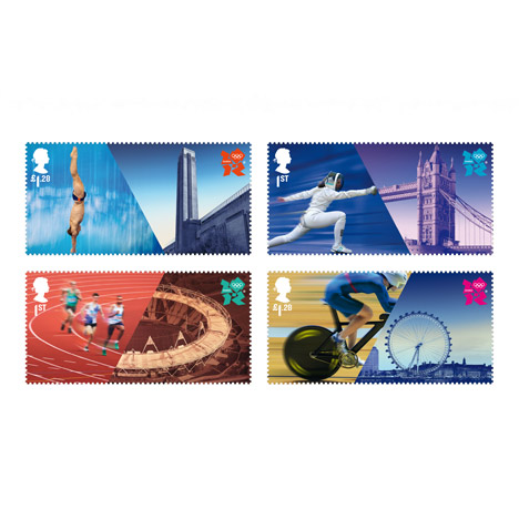 Olympic stamps by Hat Trick Design
