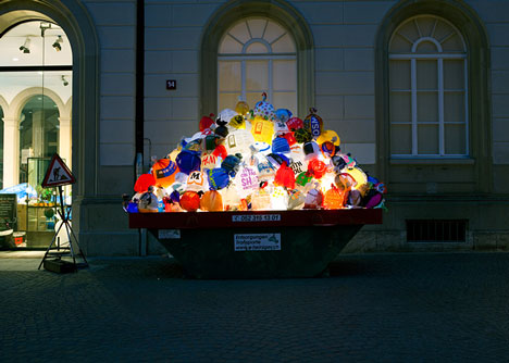 Plastic Garbage Guarding the Museum by Luzinterruptus