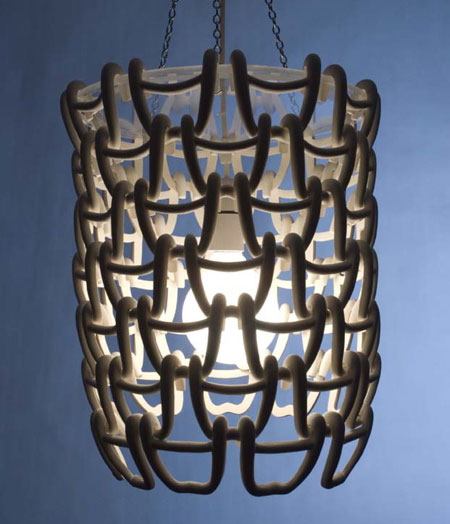 Slip-cast link light by Sarah Moucher