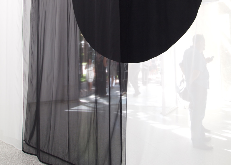 Transparent, translucent and opaque fabrics are stitched together to create the curtains, providing different levels of opacity