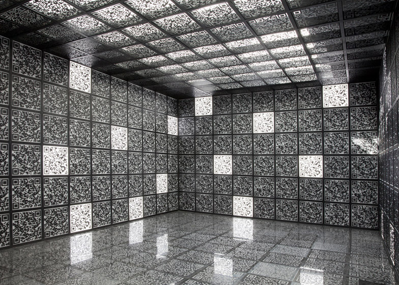 At the Russian Pavilion QR codes cover every surface inside the top floor (photo by Patricia Parinejad)