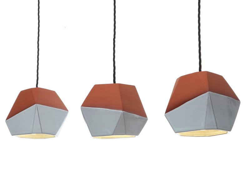 Nick Fraser shows faceted terracotta pendant shades.