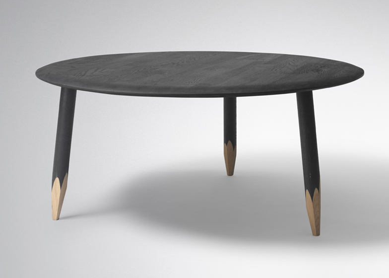 Created for Danish brand &tradition, the Hoof table by Samuel Wilkinson has legs that are sharpened like pencils.