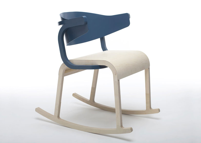 This wooden rocking chair is part of the Perch collection by Pierre Favresse.
