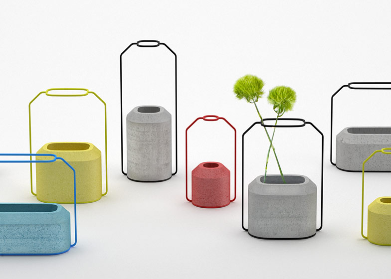 Decha Archjananun exhibits new coloured editions of her concrete Weight Vases.