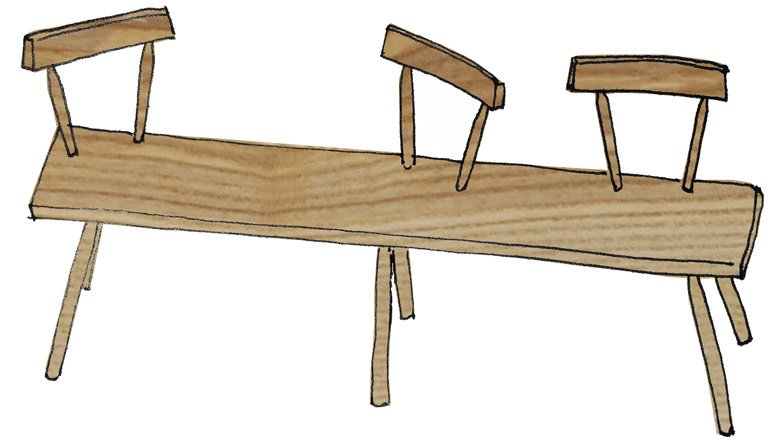 Bodge Bench by Gitta Gschwendtner for the Stepney Green Design Collection
