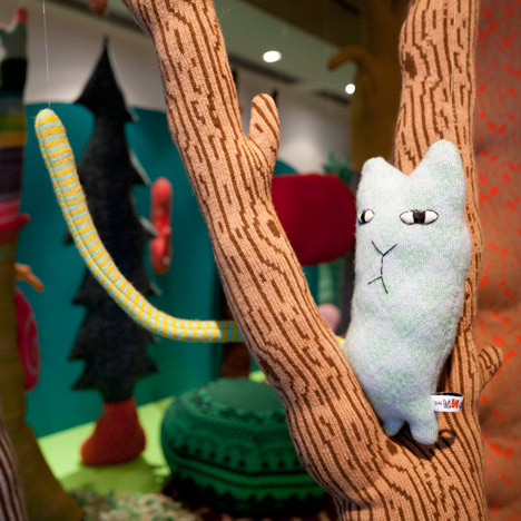 Knitted tree and creature by Donna Wilson for the Stepney Green Design Collection