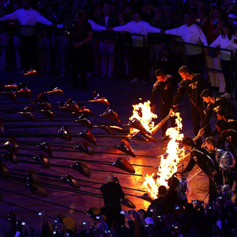 Heatherwick's cauldron during the London 2012 Olympics opening ceremony