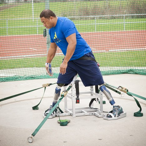 Paralympic design: discus throwing frame by Roger Thorn